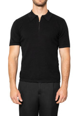 Zeb Knitted Zip Polo BLACK