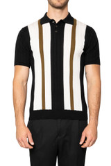 Zeb Stripe Front Knit Polo BLACK/WHITE