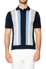 Zeb Stripe Front Knit Polo GREY/NAVY