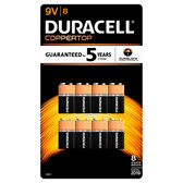 Duracell Coppertop 9 Volt Batteries - Alkaline 8 Pack - MN1604