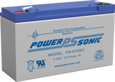 "Power-Sonic PS-6100 F1 Battery - 6 Volt 12 Amp Hour (.187"" Tabs)"