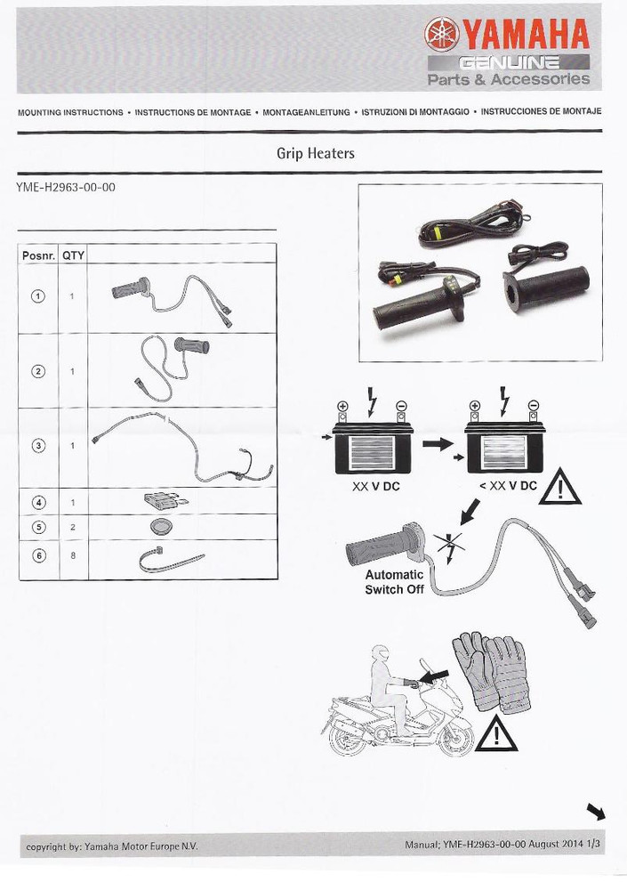 Genuine Yamaha Motorcycle Heated Grips