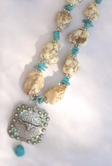 Turquoise & White Longhorn Necklace