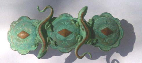 Verdigris Green Patina with Copper accents. FRENCH Barrette backs hold hair and do not break.