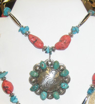 "Chunky Coral Howlite and beautiful blue green Turquoise. 16"" or 18"" with detachable pendant. PROUDLY HANDMADE IN THE USA Genuine Stones."