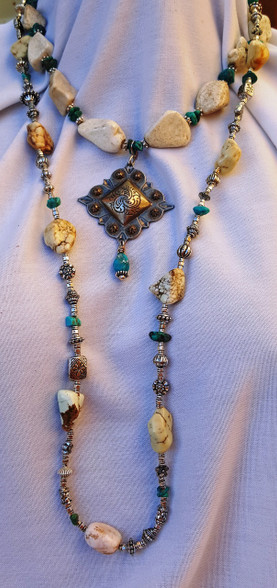 Natural Howlite and Real Turquoise necklaces. Interchangeable pendants
