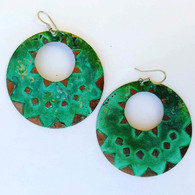 VERDIGRIS PATINA LIGHTWEIGHT HOOP EARRINGS