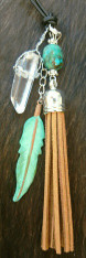 LEATHER TASSEL NECKLACE WITH TURQUOISE AND QUARTZ CRYSTAL