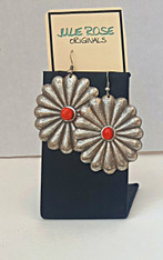 SANTA FE STYLE SILVER and CORAL STATEMENT EARRINGS