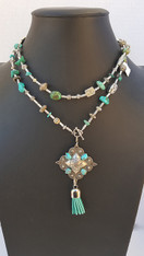 MIXED TURQUOISE AND SILVER BEAD NECKLACE
