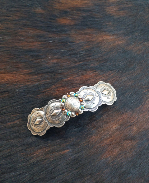 Handmade in the USA. French Back Barrette will not break, pop or snap. Western Hairclip. Southwestern Style Barrette. Swarovski Crystals. 12 Swarovski Crystal colors available.