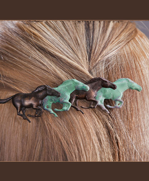 Running Horses French Back Barrette. Beautiful, permanent hand finished with Verdigris Green and Burnished Bronze.  Will not break, slip or pop. Perfect for thick to very thin hair
