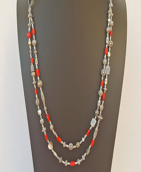 Red Coral and Mixed Silver Bead Adjustable Necklace-$69