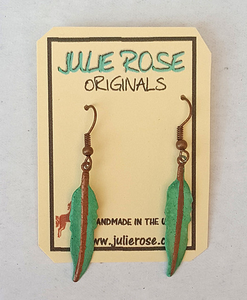 Verdigris Patina Feather Earrings