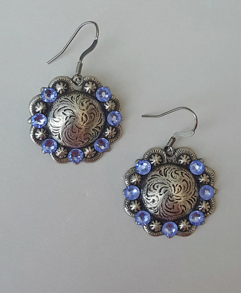Swarovski Crystal Concho Earrings-Lt. Sapphire Hypo-Allergenic earwires PROUDLY HANDMADE IN THE USA!