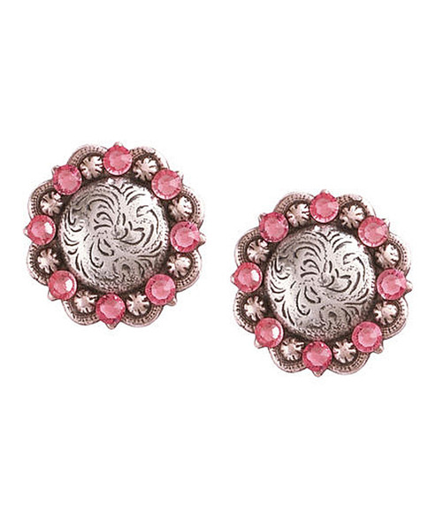 "Pretty in Pink! The perfect post earring for Spring. Light Rose Swarovski Crystals.  1"" Round. Hypo-Allergenic Posts. Available in 12 Swarovski Colors."