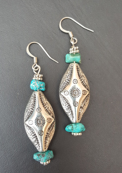 Southwest Style Lightweight Earrings. Hypo-Allergenic Earwires and hollow beads make you forget you have these earrings on! Turquoise. PROUDLY HANDMADE IN THE USA