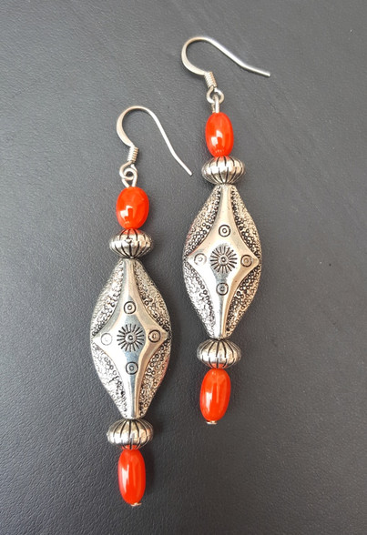 Coral and Silver Southwest Style Earrings. Hypo-Allergenic. These only look heavy, but are VERY lightweight! You wont even know you have them on. PROUDLY HANDMADE IN THE USA