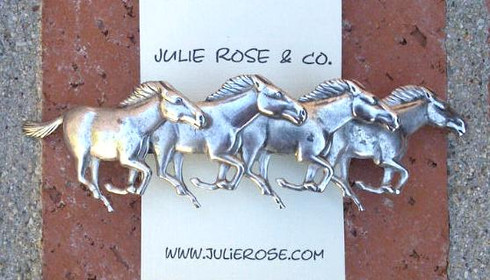 Horses Barrette-Antiqued Silver Finish-French Back-MADE IN THE USA