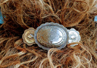 "-Silver Barrette, Santa Fe Style Barrette, Western Hairclip  -Western Concho Barrette  -Proudly Handmade in Tucson, Arizona  -Authentic ""MADE IN FRANCE"" French Backs will not break pop or slip  -Permanent Antiqued Silver finish."