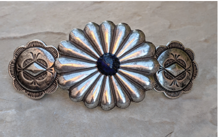 Silver Barrette, Santa Fe Style Hairclip, Western Barrette with Lapis. Large French Back Barrette will not slip, pop or break. Antiqued Silver over Brass for the look of the old Southwest. Natural Lapis Center Stone. Also available in Turquoise. PROUDLY HANDMADE IN TUCSON, AZ
