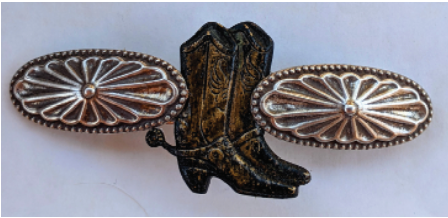 Western Barrette, Western Boot Hairclip, Rodeo Hair Accessories French Back Barrette will not slip, pop or break. Wear in the ring, at the Rodeo or everyday for a little western flair. Antiqued Silver and Burnished Bronze. Large Size MADE IN FRANCE backing. 80cm PROUDLY HANDMADE IN TUCSON, AZ