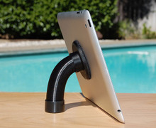 Handyholdr handle attached to back of tablet