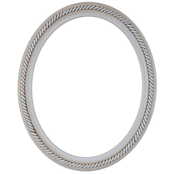 Oval Frame in Antique White Finish| Braided Rope Decals on Vintage ...