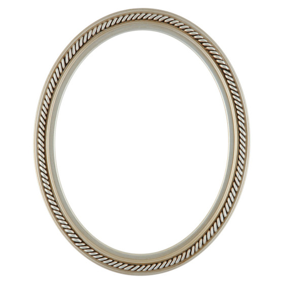 Oval Frame In Silver Finish Braided Rope Decals On Vintage Picture
