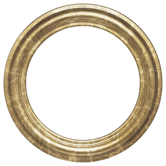 Round Frame In Champagne Gold Finish Antique Gold Leaf