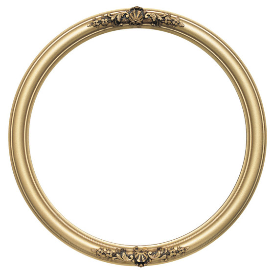 round frame in gold spray finish antique gold paint