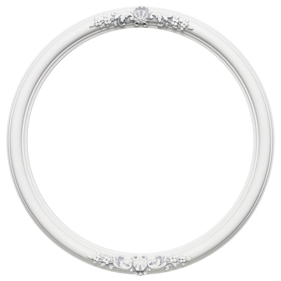 Round Frame In Linen White Finish Vintage Picture Frames With Ornate Decorations