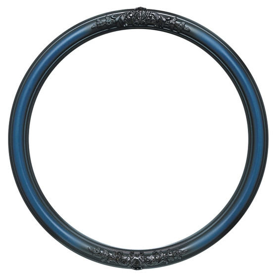 Round Frame in Royal Blue Finish  Blue Picture Frames with Ornate ...