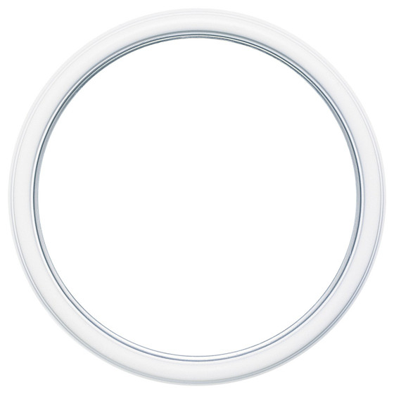 Round Frame in Linen White Finish with Silver Lip| Simple Antique ...