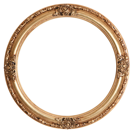 Greatest Round Frame in Gold Leaf Finish| Gold Picture Frames with Antique  VL96