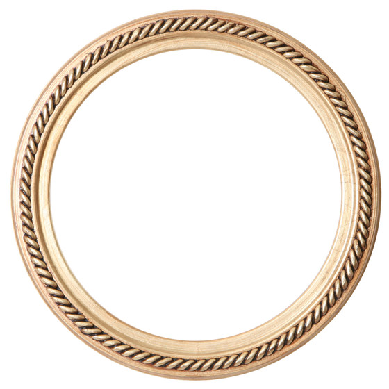 Round Frame In Gold Leaf Finish Braided Rope Decals On