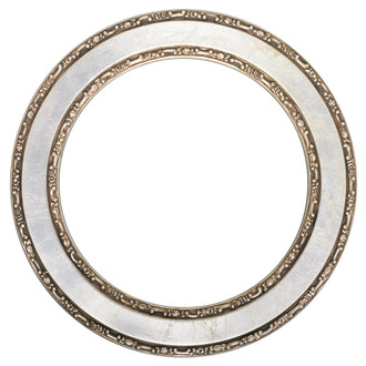 Monticello Round Frame # 822 - Silver Leaf with Brown Antique