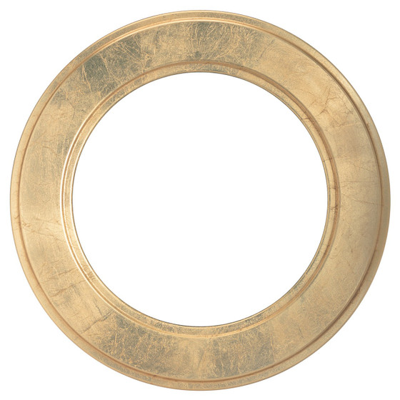 Round Frame In Gold Leaf Finish Wide Profile Antique Gold Picture