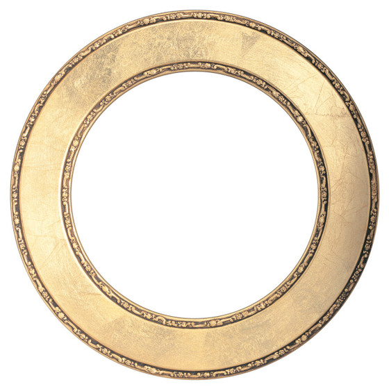 Round Frame In Gold Leaf Finish