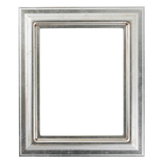 Lancaster Rectangle Frame # 450 - Silver Leaf with Brown Antique