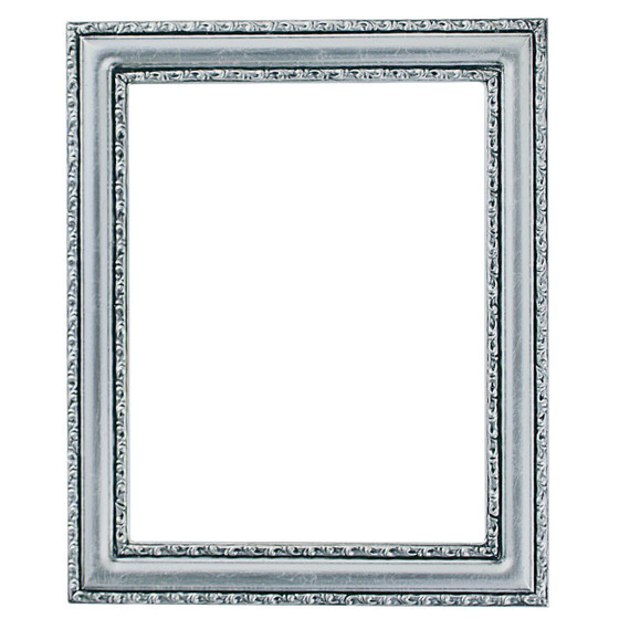 Rectangle Frame In Silver Leaf Finish With Black Antique Wooden