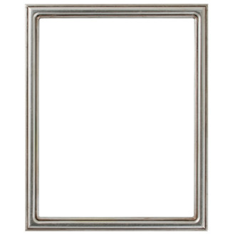 Saratoga Rectangle Frame # 550 - Silver Leaf with Brown Antique