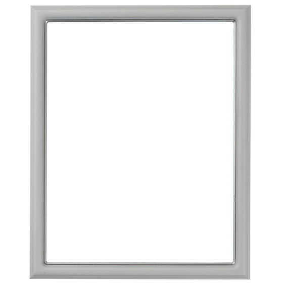 Rectangle Frame In Linen White Finish With Silver Lip