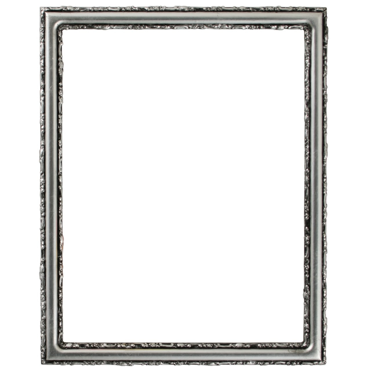 Rectangle Frame In Silver Leaf Finish With Black Antique Simple