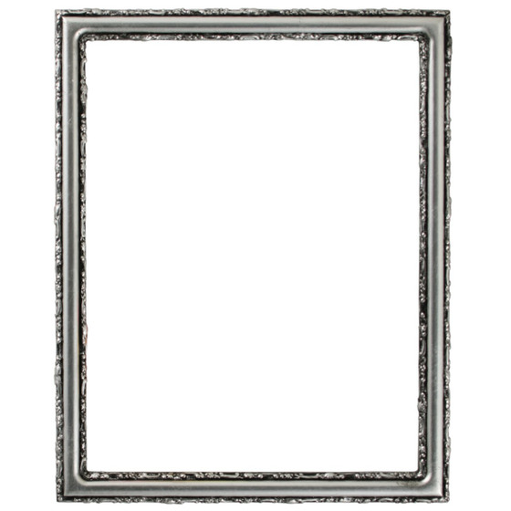 Virginia Rectangle Frame # 553 - Silver Leaf with Black Antique