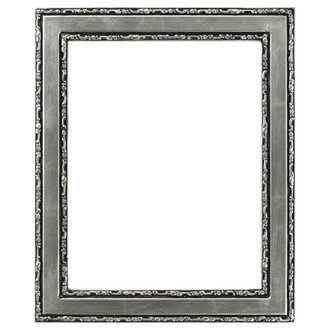Monticello Rectangle Frame # 822 - Silver Leaf with Black Antique