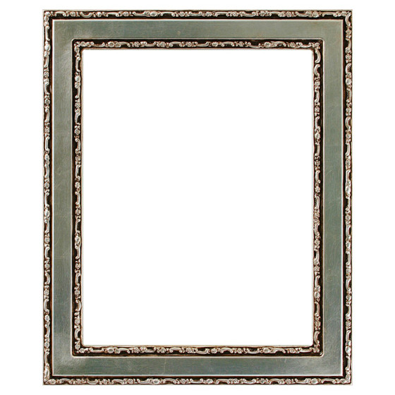 Monticello Rectangle Frame # 822 - Silver Leaf with Brown Antique