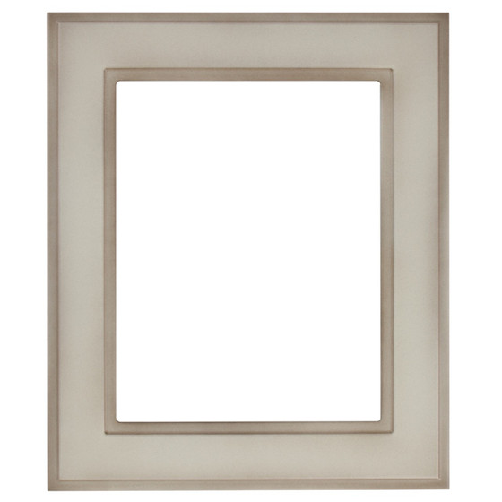 Rectangle Frame In Taupe Finish Wide Profile Antique White Picture