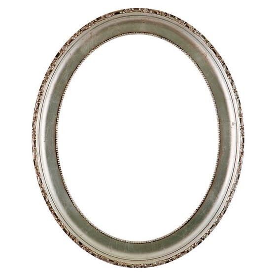 Kensington Oval Frame # 401 - Silver Leaf with Brown Antique