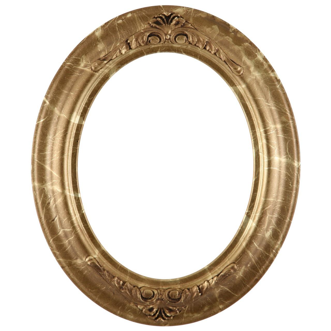 Oval Frame In Champagne Gold Finish Antique Gold Leaf
